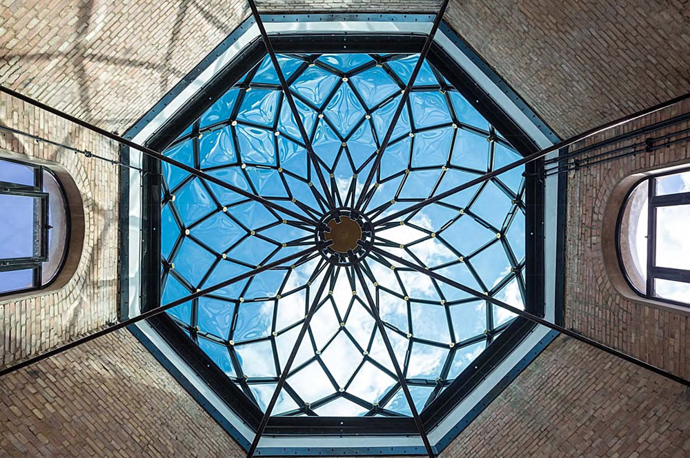 Looking up at skylight at Squire and Partners