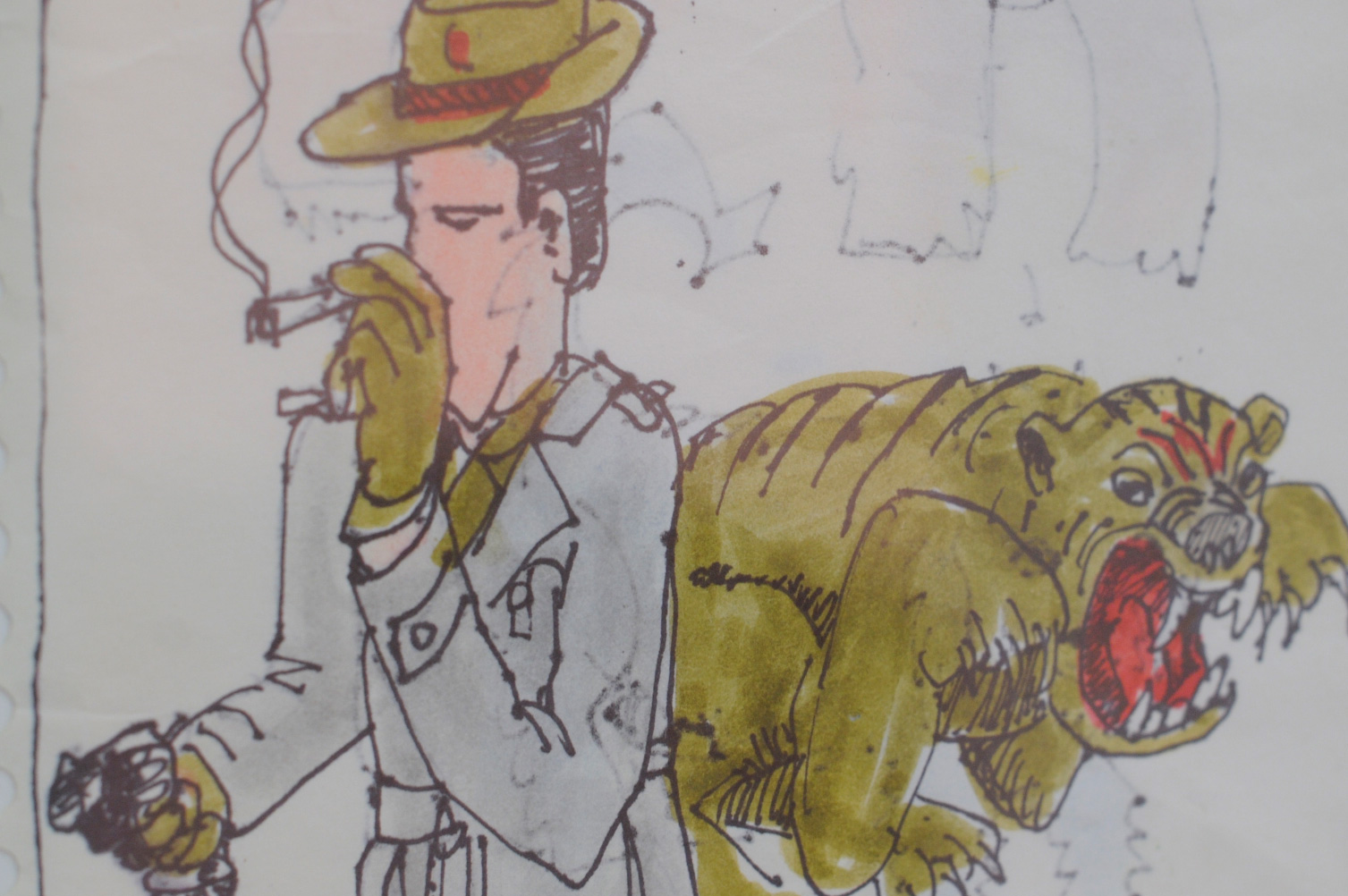 smoking cowboy with dog illustration