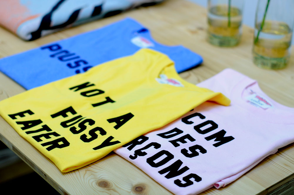 blue yellow pink t-shirts for shop slider