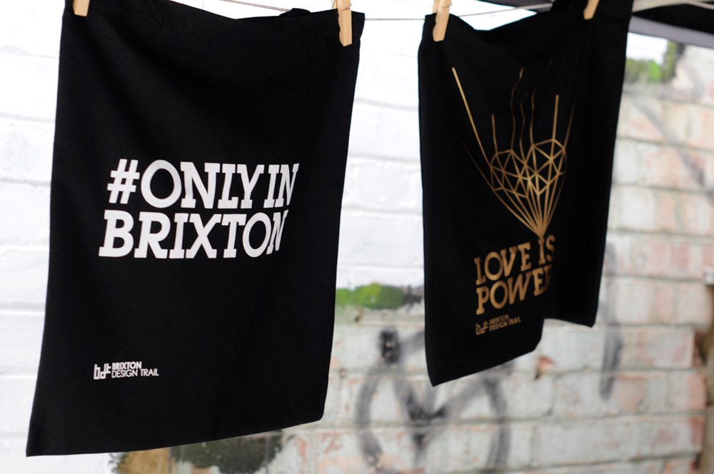 Brixton design trail printed cloth on washing line