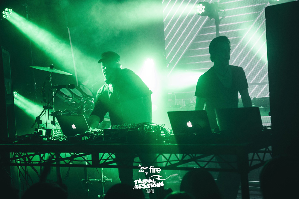 DJs with green lights at Fire