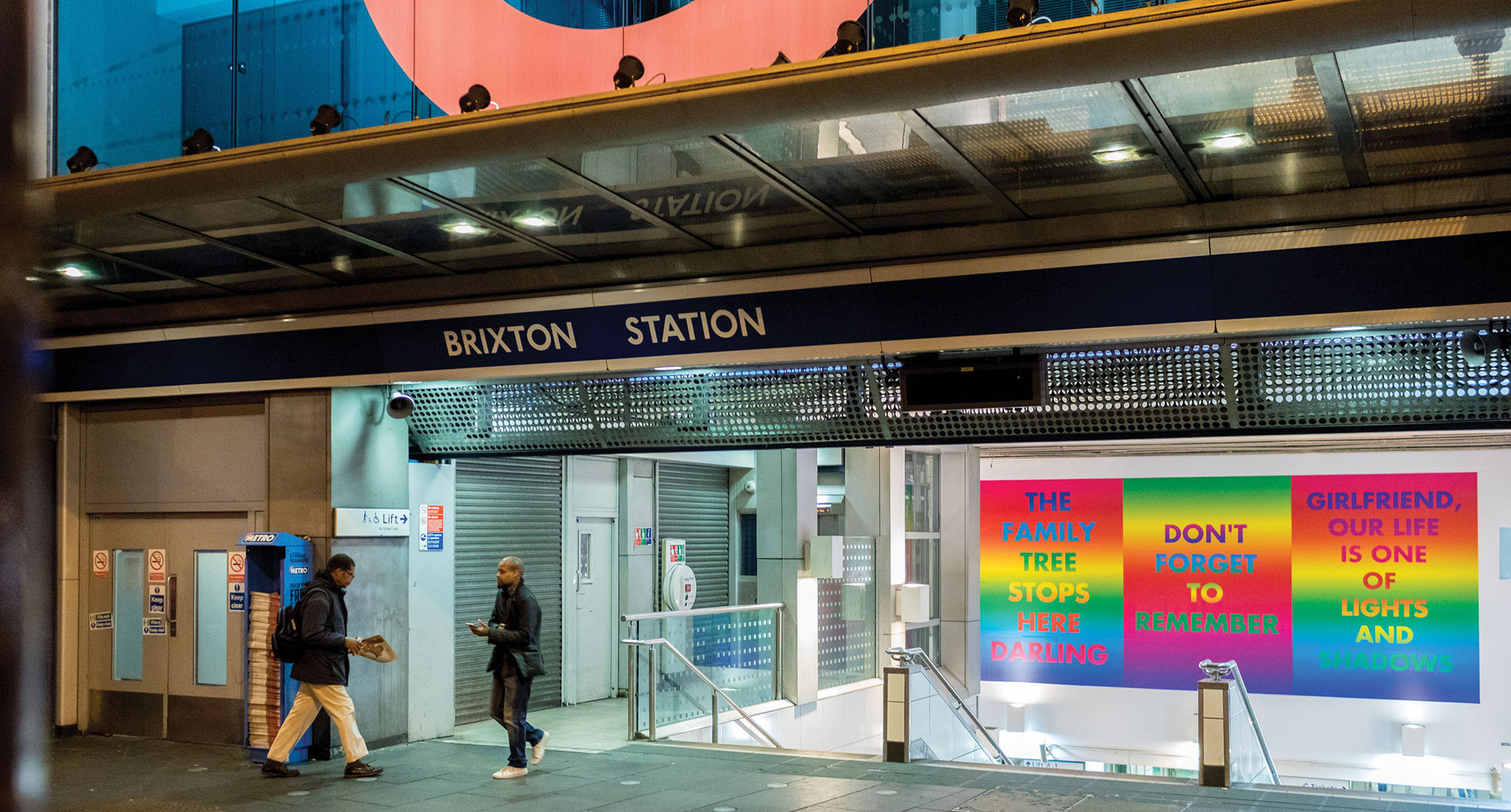Bright typographic prints at Brixton station by David McDiarmid, Rainbow Aphorisms, 1993 - 1995, A Studio Voltaire Project, Brixton Tube Station, 2017 Courtesy of the artist and the Estate of David McDiarmid, Sydney