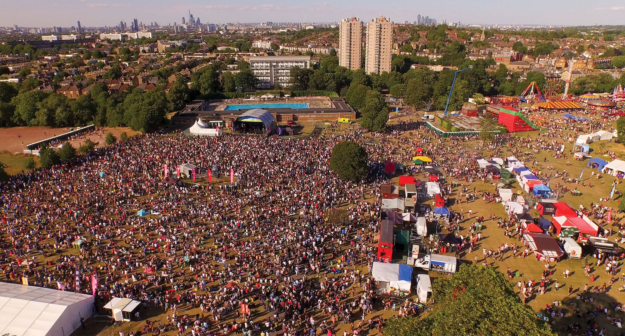 Lambeth Country Show drone shot of people and stalls