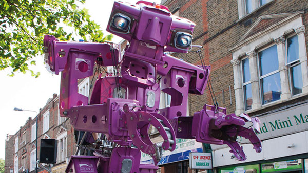 Image of a Purple rubbish machine giant puppet