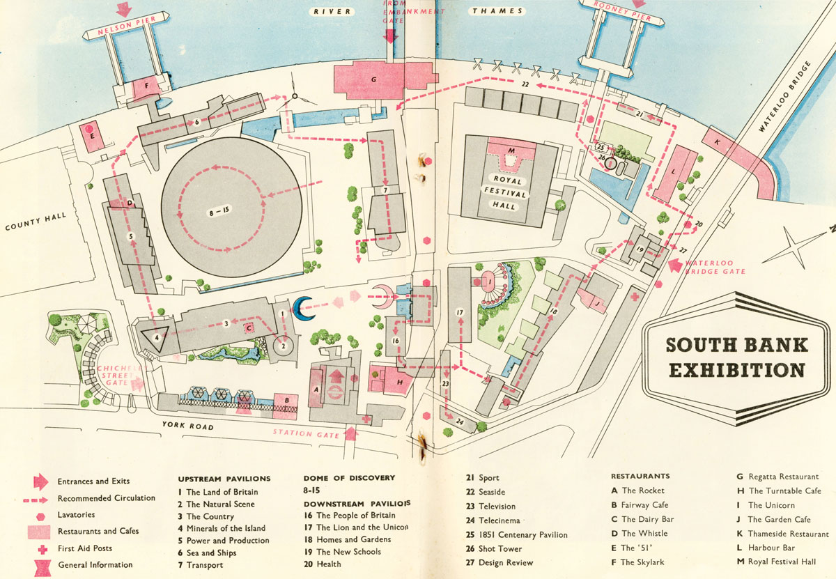 Site plan of the Festival of Britain, South Bank, 1951
