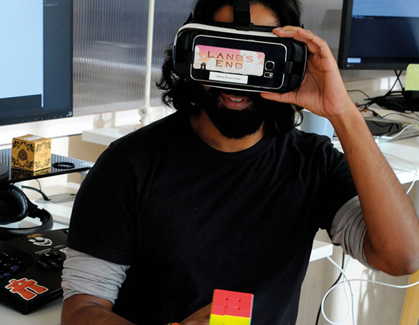UsTwo employee with VR headset on