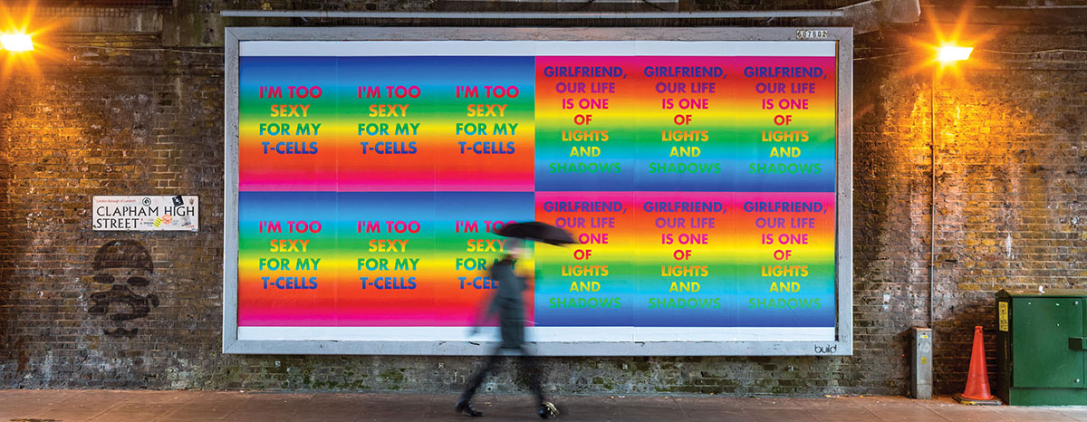 Billboard with bright typographic prints by David McDiarmid, Rainbow Aphorism