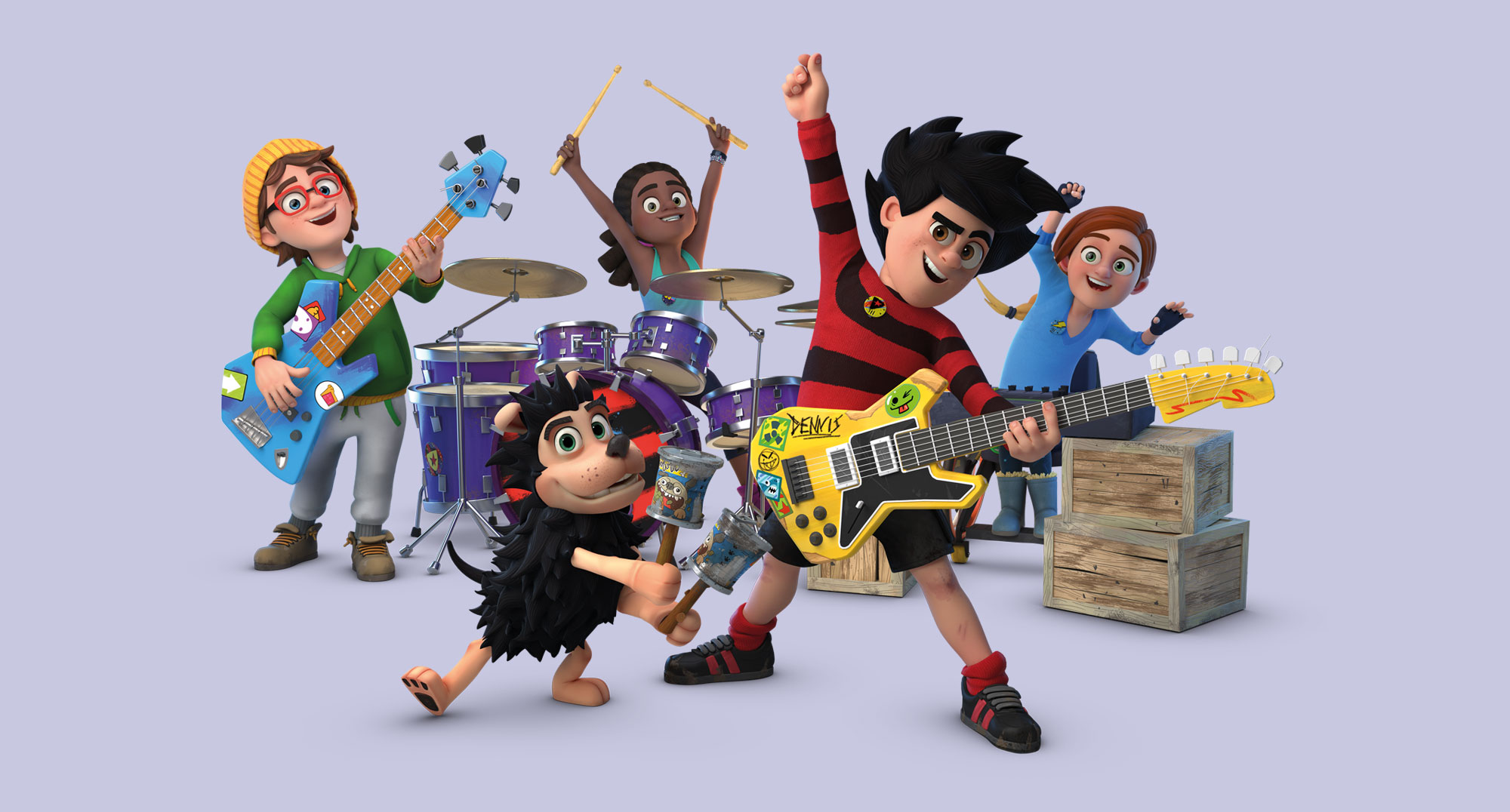 Dennis and Gnasher playing instruments © Beano Studios CBBC Jellyfish Pictures