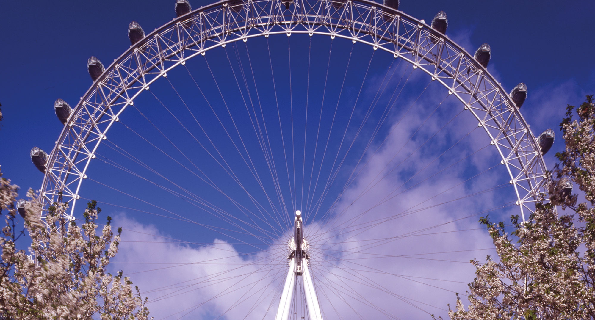 London Eye with blue sky background