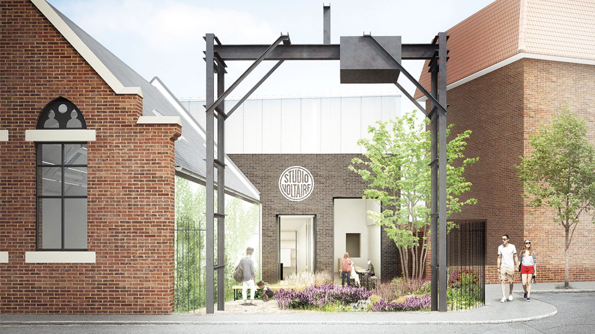 Proposed Public Entrance, Street-facing cafe and Courtyard Garden, Courtesy of Mattheson Whiteley Architects